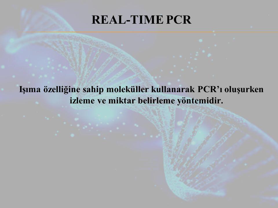 REAL-TIME PCR Işıma özelliğine sahip moleküller kullanarak PCR'ı oluşurken izleme ve miktar belirleme yöntemidir.