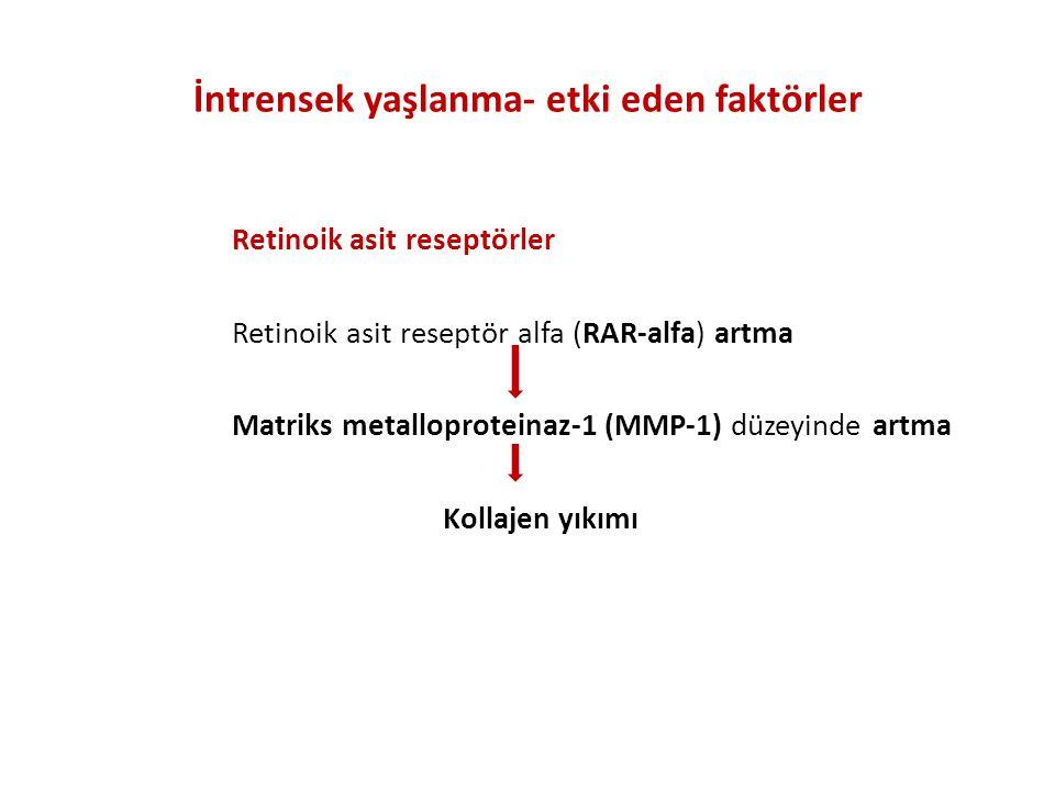 İntrensek yaşlanma- etki eden faktörler Retinoik asit reseptörler Retinoik asit reseptör alfa (RAR-alfa) artma Matriks metalloproteinaz-1 (MMP-1) düzeyinde artma Kollajen yıkımı