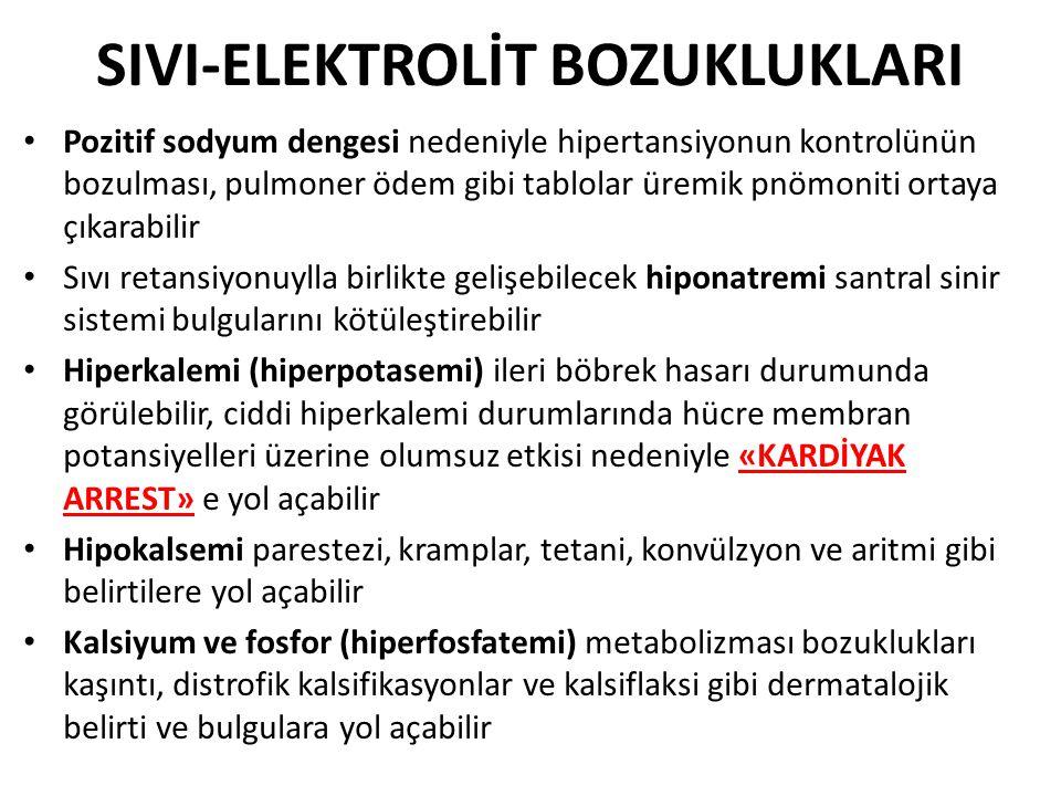 SIVI-ELEKTROLİT BOZUKLUKLARI Pozitif sodyum dengesi nedeniyle hipertansiyonun kontrolünün bozulması, pulmoner ödem gibi tablolar üremik pnömoniti orta