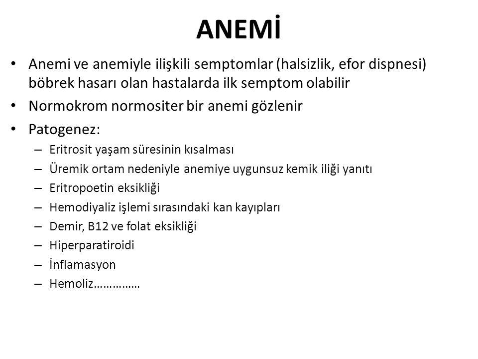 ANEMİ Anemi ve anemiyle ilişkili semptomlar (halsizlik, efor dispnesi) böbrek hasarı olan hastalarda ilk semptom olabilir Normokrom normositer bir ane