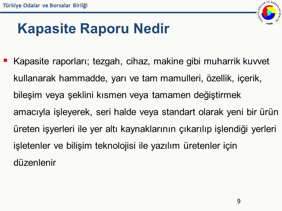 Türkiye Odalar ve Borsalar Birliği Kapasite Raporu Nedir  Kapasite raporları; tezgah, cihaz, makine gibi muharrik kuvvet kullanarak hammadde, yarı ve