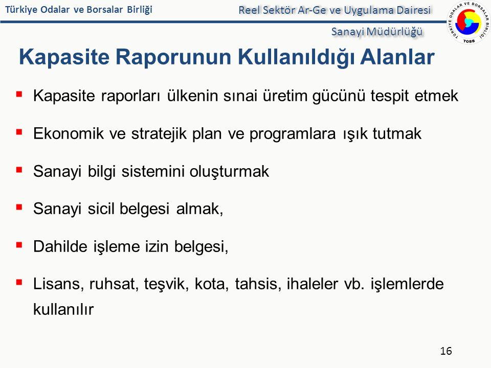 Türkiye Odalar ve Borsalar Birliği Kapasite Raporunun Kullanıldığı Alanlar  Kapasite raporları ülkenin sınai üretim gücünü tespit etmek  Ekonomik ve