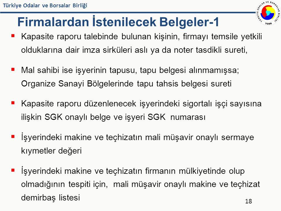 Türkiye Odalar ve Borsalar Birliği Firmalardan İstenilecek Belgeler-1  Kapasite raporu talebinde bulunan kişinin, firmayı temsile yetkili olduklarına