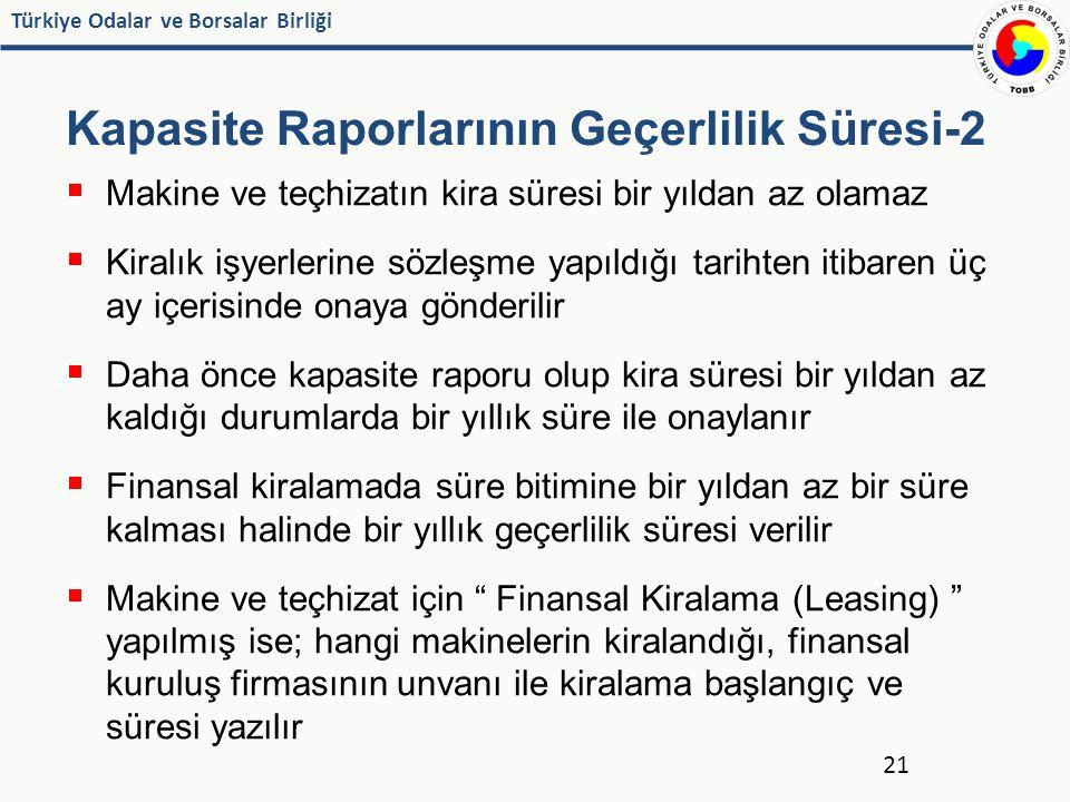 Türkiye Odalar ve Borsalar Birliği Kapasite Raporlarının Geçerlilik Süresi-2  Makine ve teçhizatın kira süresi bir yıldan az olamaz  Kiralık işyerle