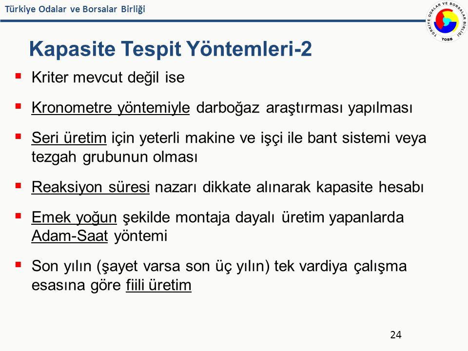 Türkiye Odalar ve Borsalar Birliği Kapasite Tespit Yöntemleri-2  Kriter mevcut değil ise  Kronometre yöntemiyle darboğaz araştırması yapılması  Ser