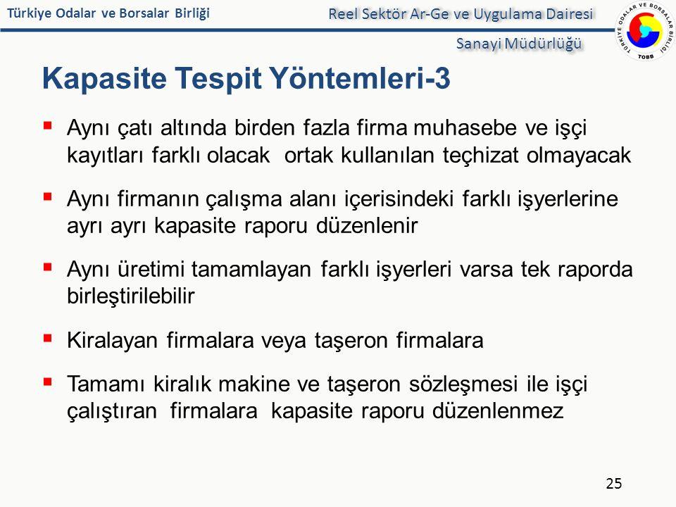 Türkiye Odalar ve Borsalar Birliği Kapasite Tespit Yöntemleri-3  Aynı çatı altında birden fazla firma muhasebe ve işçi kayıtları farklı olacak ortak