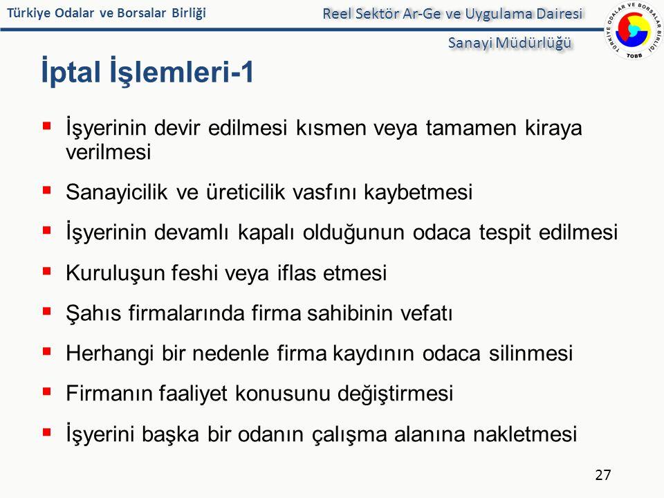Türkiye Odalar ve Borsalar Birliği İptal İşlemleri-1  İşyerinin devir edilmesi kısmen veya tamamen kiraya verilmesi  Sanayicilik ve üreticilik vasfı