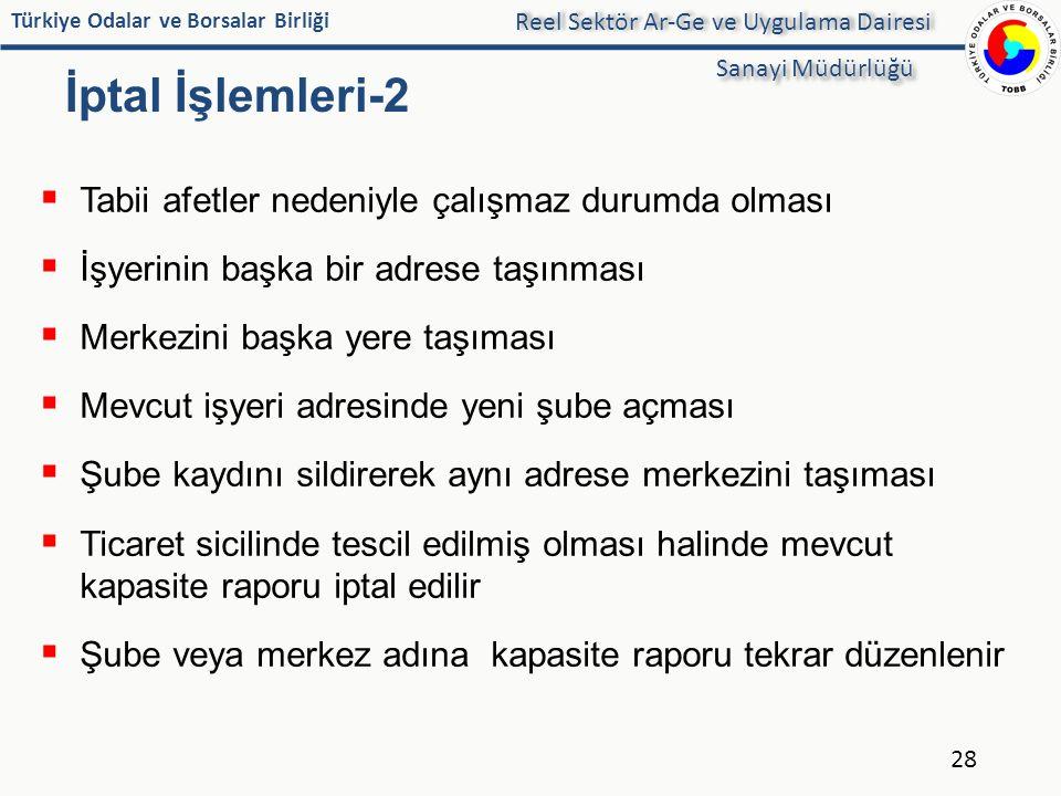 Türkiye Odalar ve Borsalar Birliği İptal İşlemleri-2  Tabii afetler nedeniyle çalışmaz durumda olması  İşyerinin başka bir adrese taşınması  Merkez