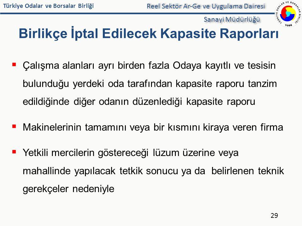 Türkiye Odalar ve Borsalar Birliği Birlikçe İptal Edilecek Kapasite Raporları  Çalışma alanları ayrı birden fazla Odaya kayıtlı ve tesisin bulunduğu