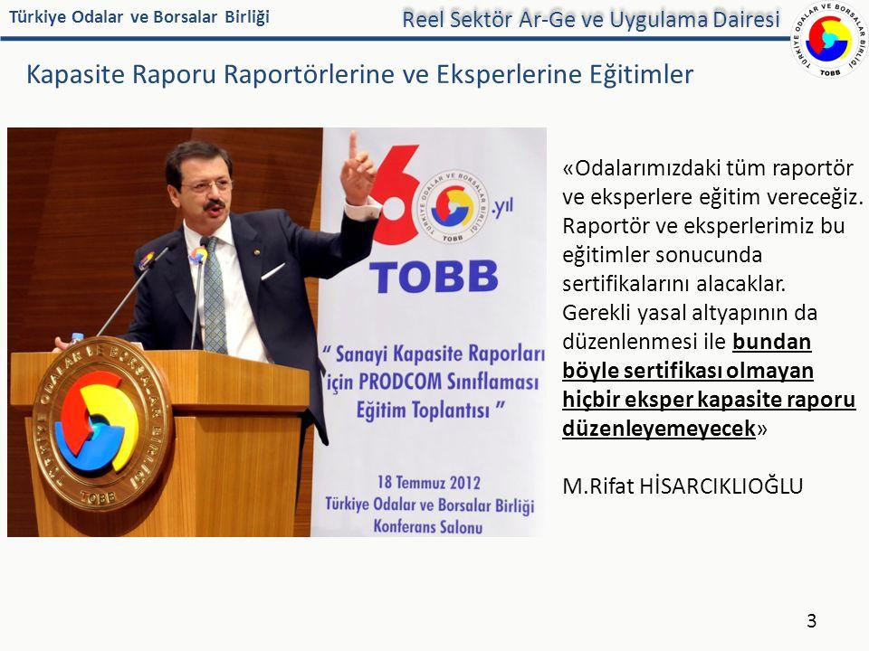 Türkiye Odalar ve Borsalar Birliği Kapasite Raporu Raportörlerine ve Eksperlerine Eğitimler 3 «Odalarımızdaki tüm raportör ve eksperlere eğitim verece