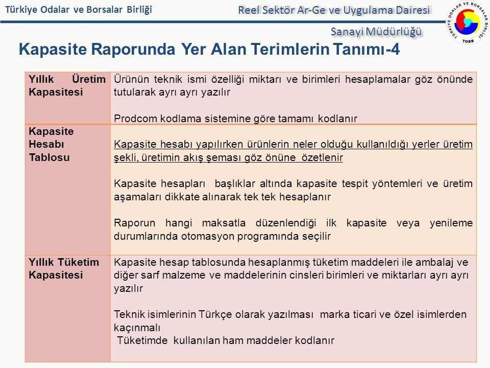 Türkiye Odalar ve Borsalar Birliği Kapasite Raporunda Yer Alan Terimlerin Tanımı-4 35 Reel Sektör Ar-Ge ve Uygulama Dairesi Sanayi Müdürlüğü Yıllık Ür