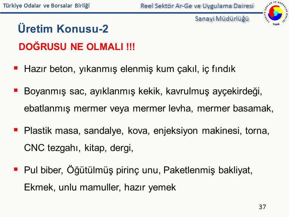 Türkiye Odalar ve Borsalar Birliği Üretim Konusu-2 37 Reel Sektör Ar-Ge ve Uygulama Dairesi Sanayi Müdürlüğü DOĞRUSU NE OLMALI !!!  Hazır beton, yıka