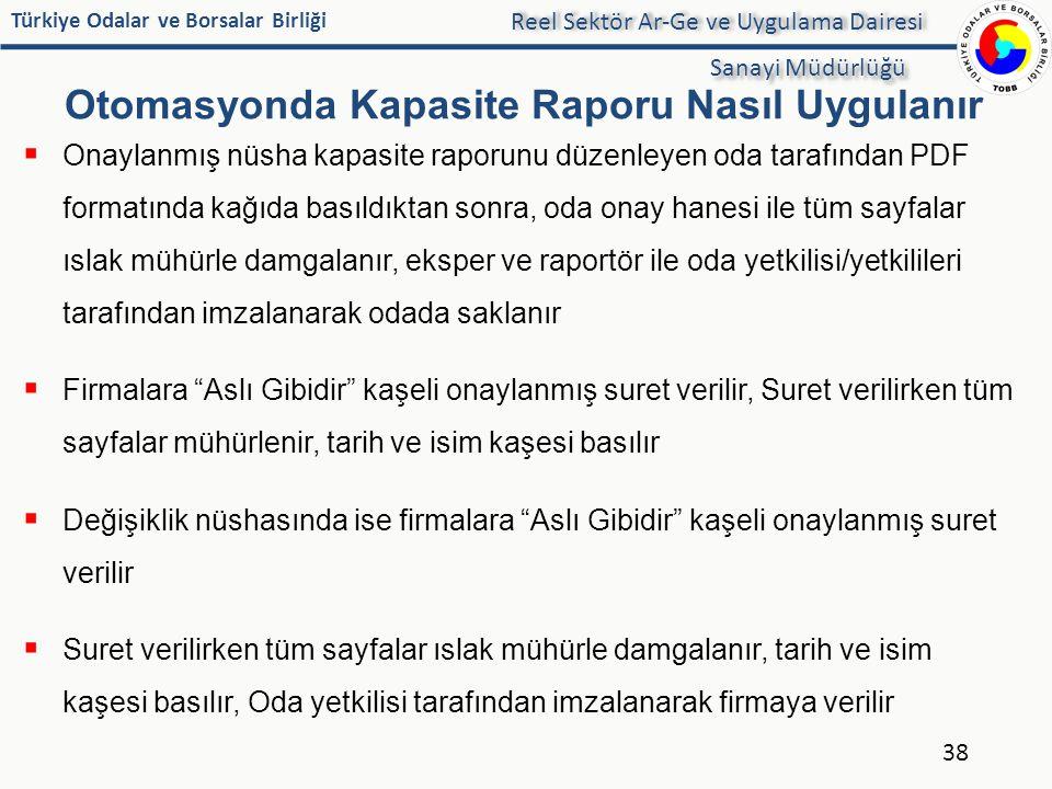 Türkiye Odalar ve Borsalar Birliği Otomasyonda Kapasite Raporu Nasıl Uygulanır 38 Reel Sektör Ar-Ge ve Uygulama Dairesi Sanayi Müdürlüğü  Onaylanmış