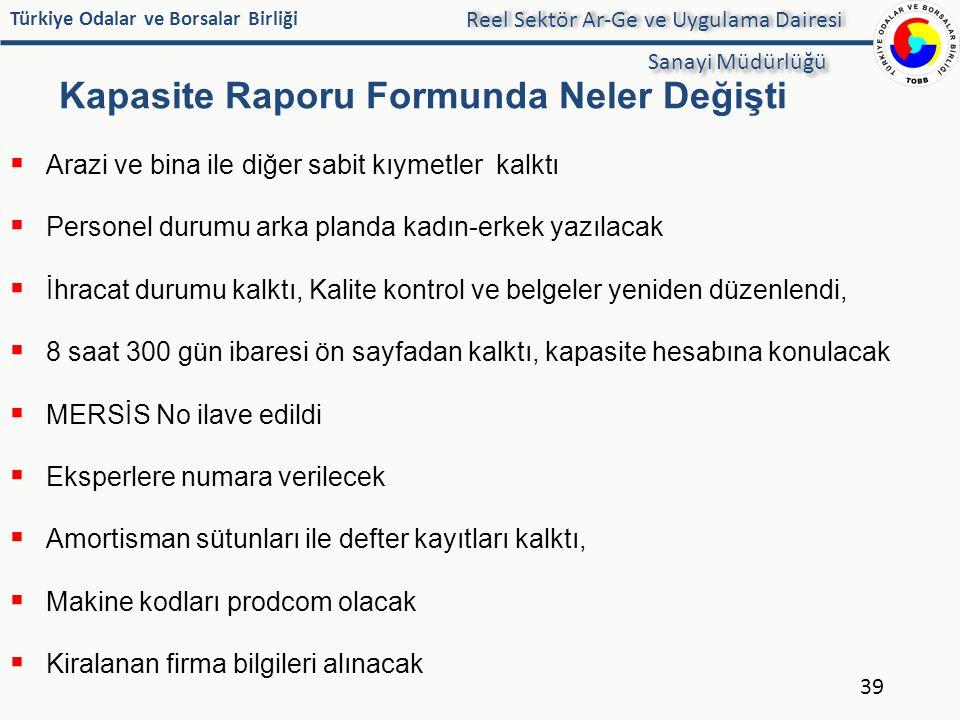 Türkiye Odalar ve Borsalar Birliği Kapasite Raporu Formunda Neler Değişti 39 Reel Sektör Ar-Ge ve Uygulama Dairesi Sanayi Müdürlüğü  Arazi ve bina il