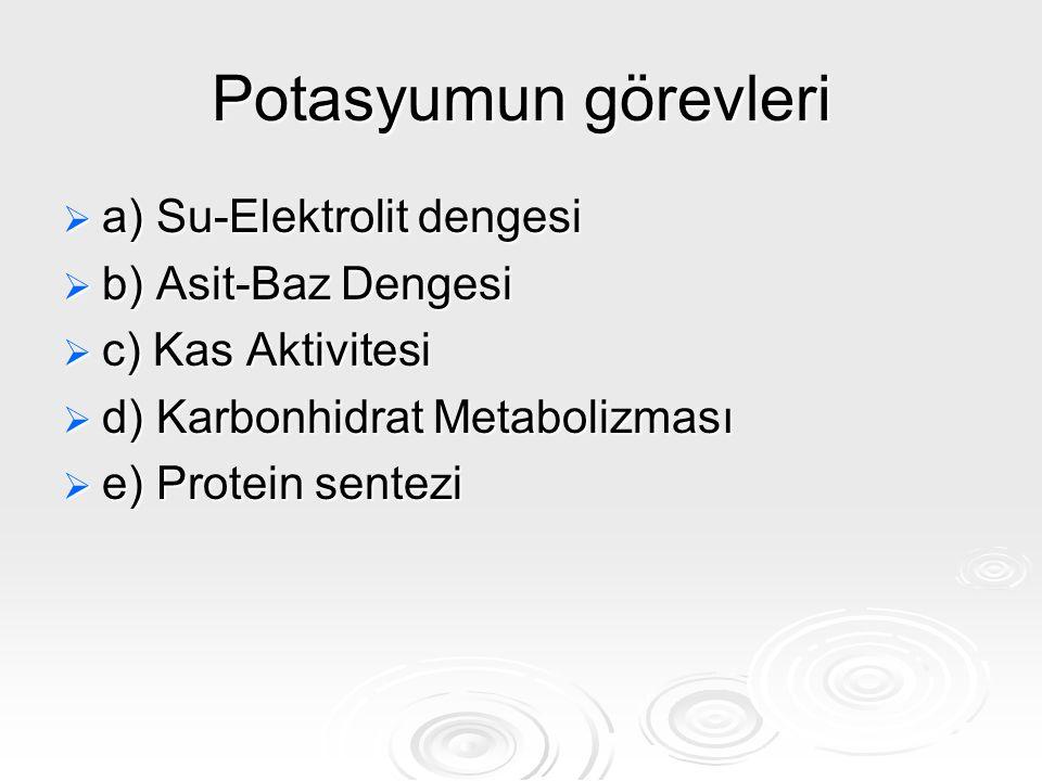 Potasyumun görevleri  a) Su-Elektrolit dengesi  b) Asit-Baz Dengesi  c) Kas Aktivitesi  d) Karbonhidrat Metabolizması  e) Protein sentezi