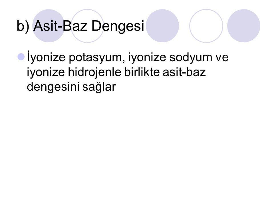 b) Asit-Baz Dengesi İyonize potasyum, iyonize sodyum ve iyonize hidrojenle birlikte asit-baz dengesini sağlar