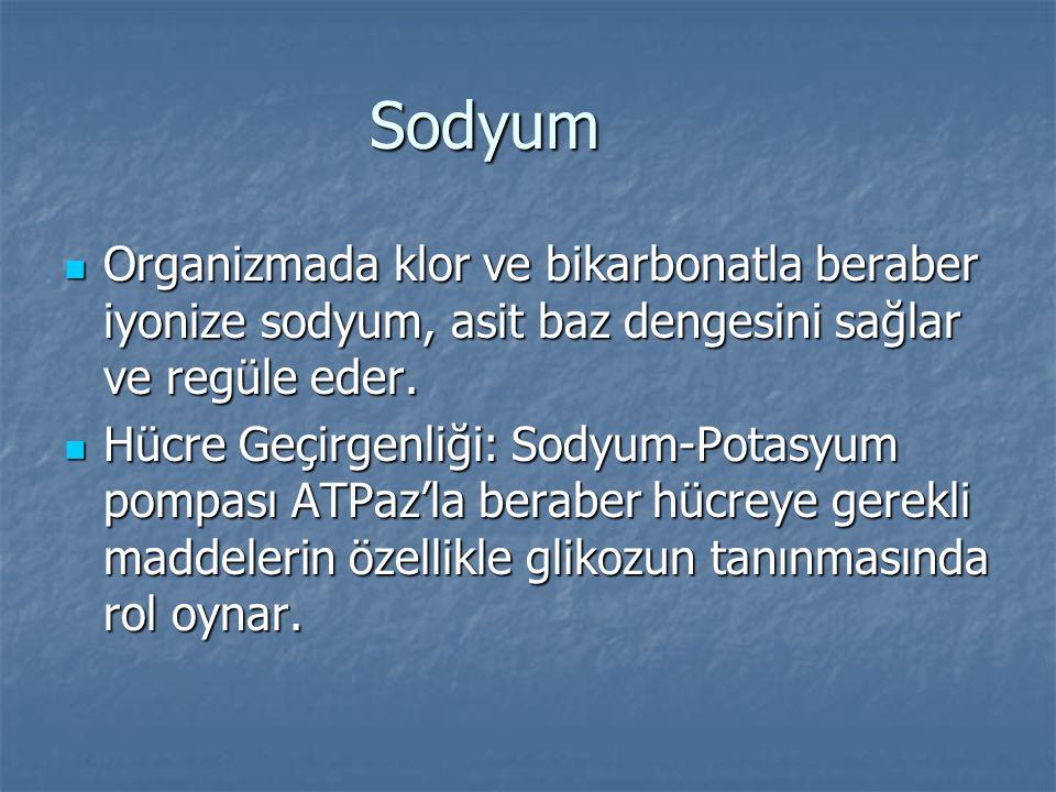 Sodyum Organizmada klor ve bikarbonatla beraber iyonize sodyum, asit baz dengesini sağlar ve regüle eder. Organizmada klor ve bikarbonatla beraber iyo