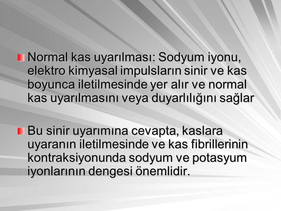 Normal kas uyarılması: Sodyum iyonu, elektro kimyasal impulsların sinir ve kas boyunca iletilmesinde yer alır ve normal kas uyarılmasını veya duyarlıl