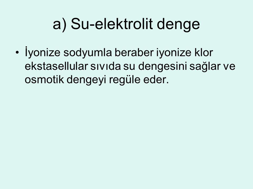 a) Su-elektrolit denge İyonize sodyumla beraber iyonize klor ekstasellular sıvıda su dengesini sağlar ve osmotik dengeyi regüle eder.