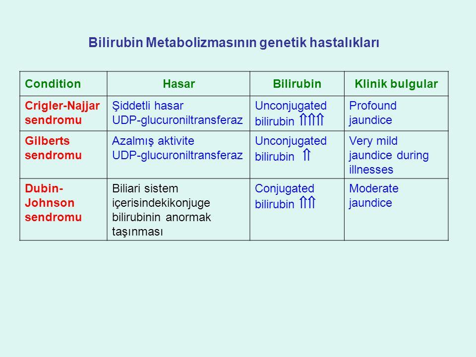 Bilirubin Metabolizmasının genetik hastalıkları ConditionHasarBilirubinKlinik bulgular Crigler-Najjar sendromu Şiddetli hasar UDP-glucuroniltransferaz