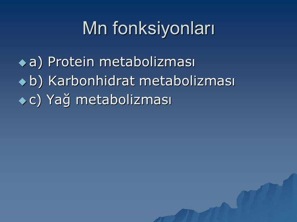 Mn fonksiyonları  a) Protein metabolizması  b) Karbonhidrat metabolizması  c) Yağ metabolizması