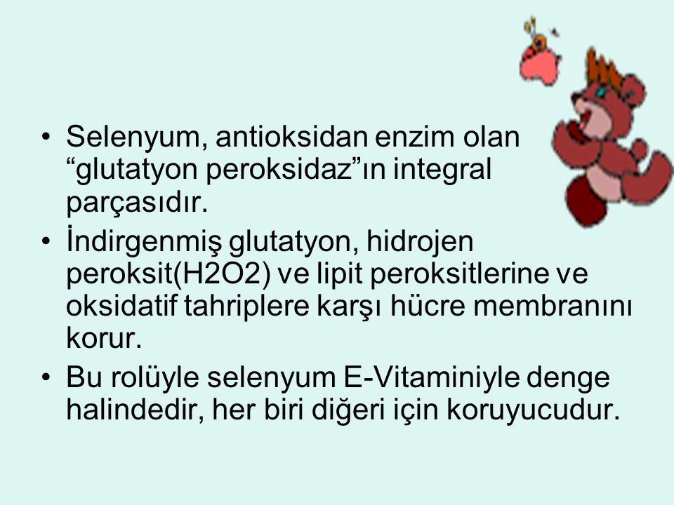 """Selenyum, antioksidan enzim olan """"glutatyon peroksidaz""""ın integral parçasıdır. İndirgenmiş glutatyon, hidrojen peroksit(H2O2) ve lipit peroksitlerine"""