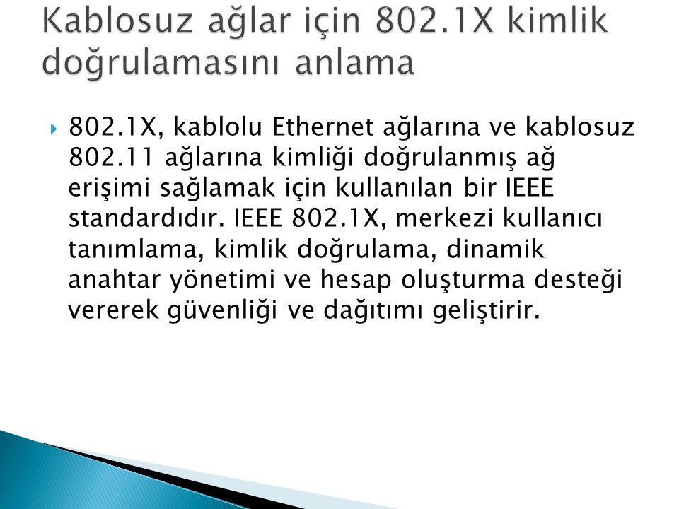  802.1X, kablolu Ethernet ağlarına ve kablosuz 802.11 ağlarına kimliği doğrulanmış ağ erişimi sağlamak için kullanılan bir IEEE standardıdır. IEEE 80