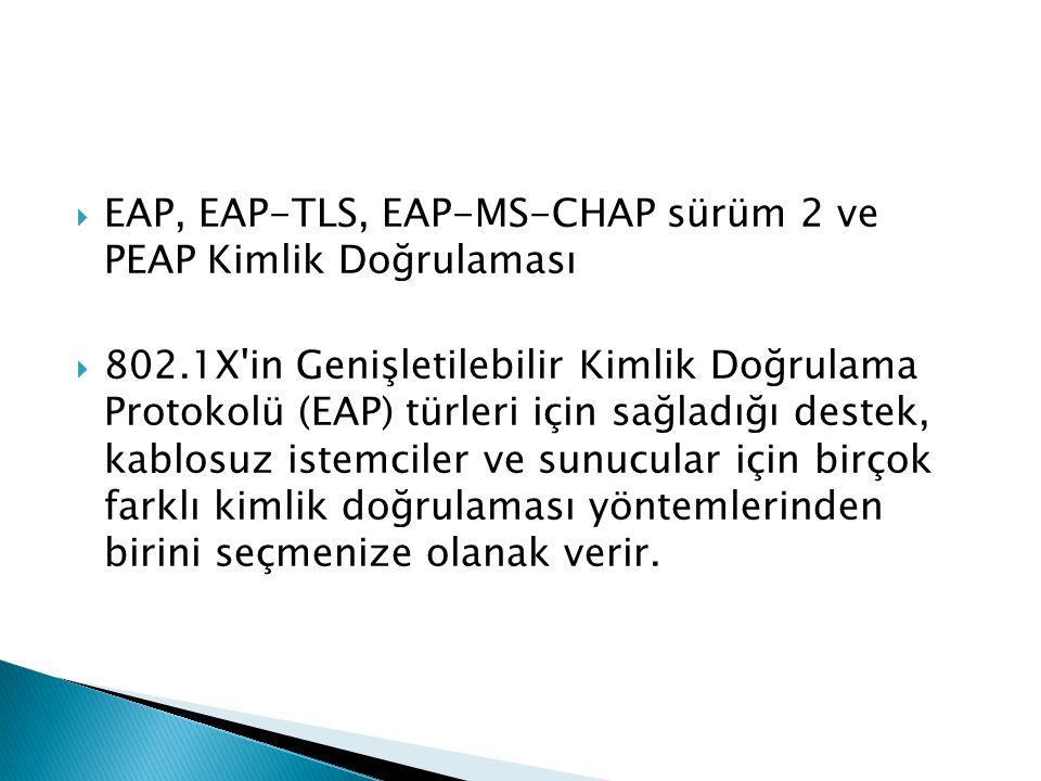  EAP, EAP-TLS, EAP-MS-CHAP sürüm 2 ve PEAP Kimlik Doğrulaması  802.1X'in Genişletilebilir Kimlik Doğrulama Protokolü (EAP) türleri için sağladığı de