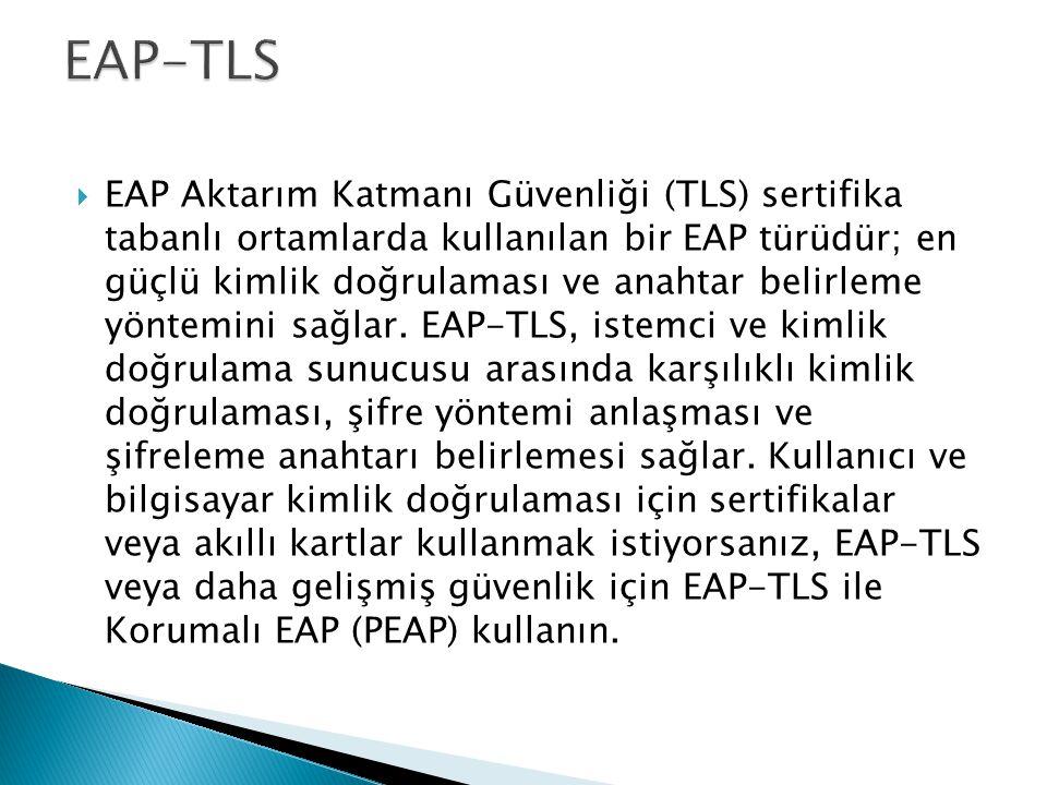  EAP Aktarım Katmanı Güvenliği (TLS) sertifika tabanlı ortamlarda kullanılan bir EAP türüdür; en güçlü kimlik doğrulaması ve anahtar belirleme yöntem
