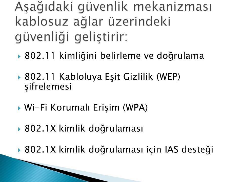  802.11 kimliğini belirleme ve doğrulama  802.11 Kabloluya Eşit Gizlilik (WEP) şifrelemesi  Wi-Fi Korumalı Erişim (WPA)  802.1X kimlik doğrulaması