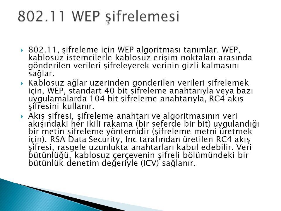 802.11, şifreleme için WEP algoritması tanımlar. WEP, kablosuz istemcilerle kablosuz erişim noktaları arasında gönderilen verileri şifreleyerek veri