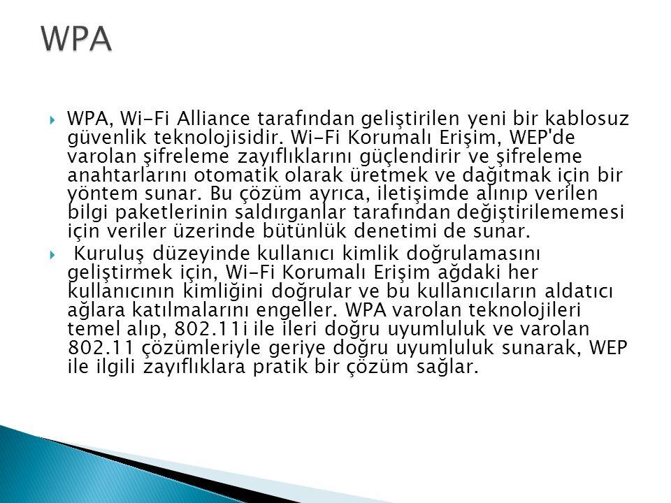  WPA, Wi-Fi Alliance tarafından geliştirilen yeni bir kablosuz güvenlik teknolojisidir. Wi-Fi Korumalı Erişim, WEP'de varolan şifreleme zayıflıkların