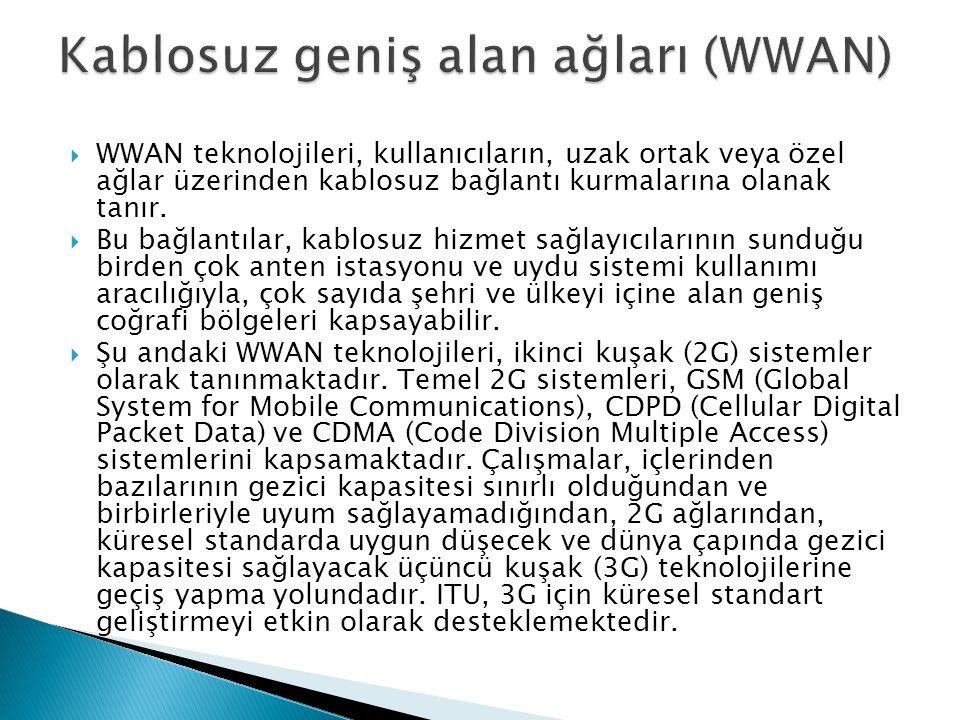  WWAN teknolojileri, kullanıcıların, uzak ortak veya özel ağlar üzerinden kablosuz bağlantı kurmalarına olanak tanır.  Bu bağlantılar, kablosuz hizm
