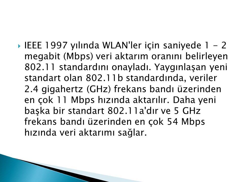  IEEE 1997 yılında WLAN'ler için saniyede 1 - 2 megabit (Mbps) veri aktarım oranını belirleyen 802.11 standardını onayladı. Yaygınlaşan yeni standart