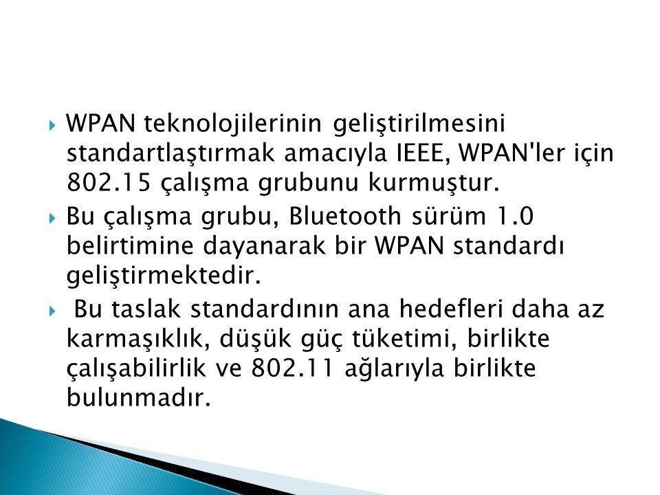  WPAN teknolojilerinin geliştirilmesini standartlaştırmak amacıyla IEEE, WPAN'ler için 802.15 çalışma grubunu kurmuştur.  Bu çalışma grubu, Bluetoot