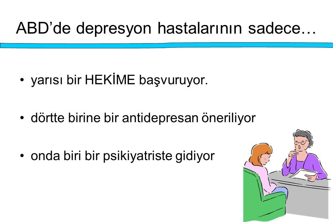 ABD'de depresyon hastalarının sadece… yarısı bir HEKİME başvuruyor. dörtte birine bir antidepresan öneriliyor onda biri bir psikiyatriste gidiyor