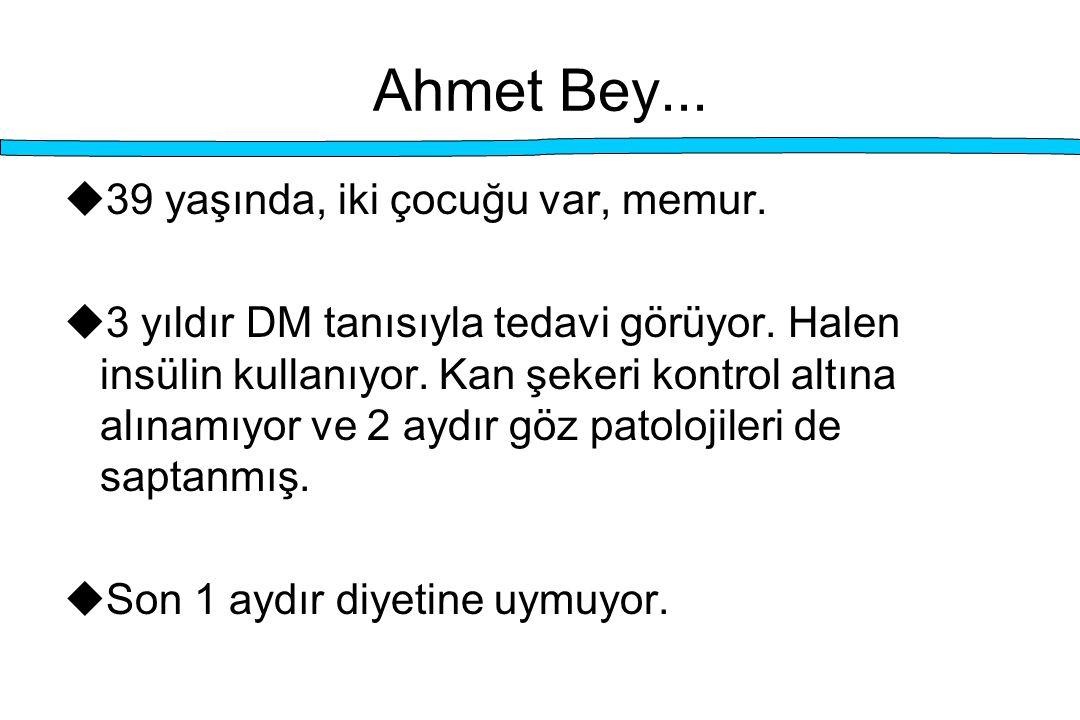 Ahmet Bey...  39 yaşında, iki çocuğu var, memur.  3 yıldır DM tanısıyla tedavi görüyor. Halen insülin kullanıyor. Kan şekeri kontrol altına alınamıy