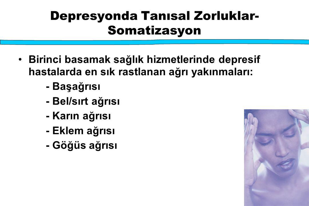 Depresyonda Tanısal Zorluklar- Somatizasyon Birinci basamak sağlık hizmetlerinde depresif hastalarda en sık rastlanan ağrı yakınmaları: - Başağrısı -