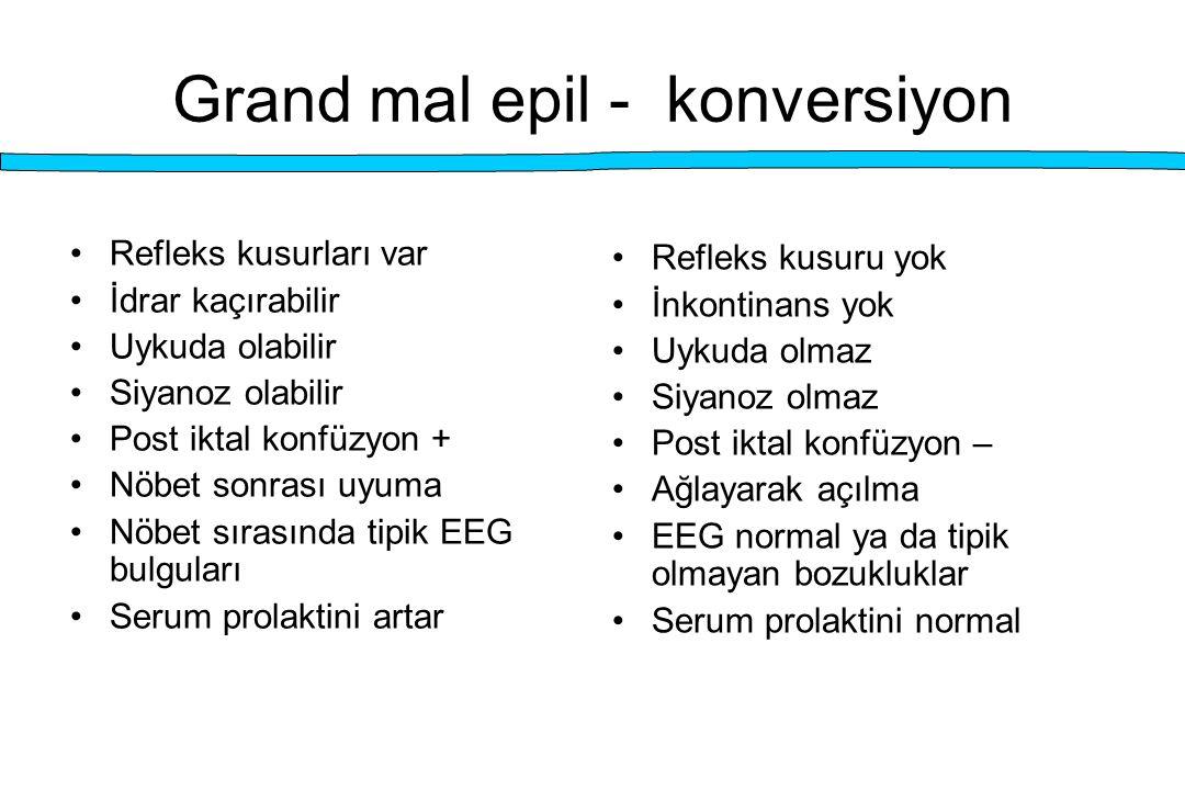Grand mal epil - konversiyon Refleks kusurları var İdrar kaçırabilir Uykuda olabilir Siyanoz olabilir Post iktal konfüzyon + Nöbet sonrası uyuma Nöbet