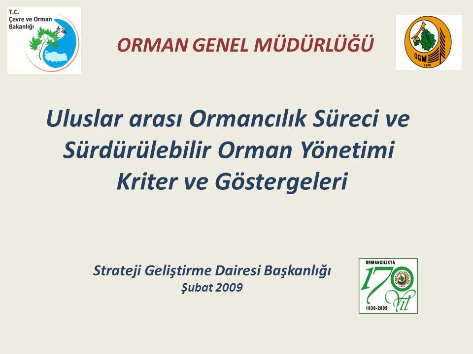 Uluslar arası Ormancılık Süreci ve Sürdürülebilir Orman Yönetimi Kriter ve Göstergeleri Strateji Geliştirme Dairesi Başkanlığı Şubat 2009 ORMAN GENEL MÜDÜRLÜĞÜ