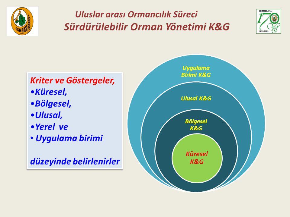 Uygulama Birimi K&G Ulusal K&G Bölgesel K&G Küresel K&G Kriter ve Göstergeler, Küresel, Bölgesel, Ulusal, Yerel ve Uygulama birimi düzeyinde belirleni