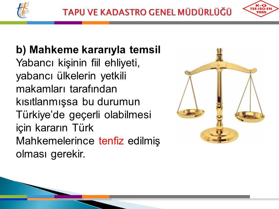 TAPU VE KADASTRO GENEL MÜDÜRLÜĞÜ b) Mahkeme kararıyla temsil Yabancı kişinin fiil ehliyeti, yabancı ülkelerin yetkili makamları tarafından kısıtlanmış