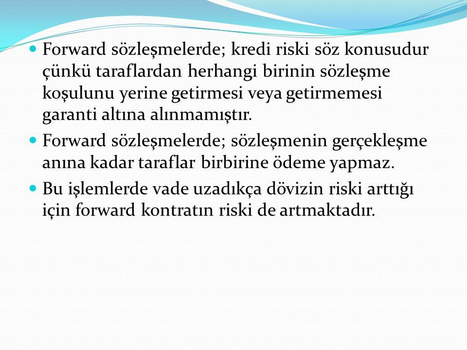 Forward sözleşmelerde; kredi riski söz konusudur çünkü taraflardan herhangi birinin sözleşme koşulunu yerine getirmesi veya getirmemesi garanti altına alınmamıştır.