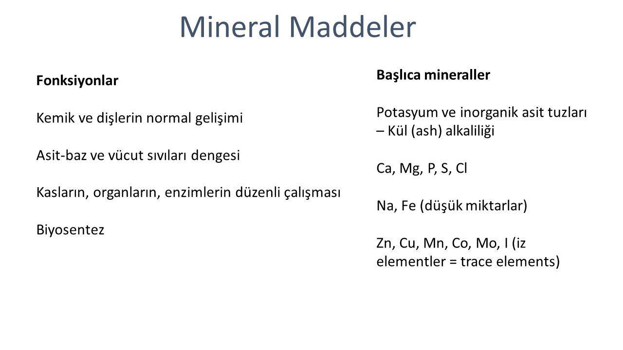 Mineral Maddeler Fonksiyonlar Kemik ve dişlerin normal gelişimi Asit-baz ve vücut sıvıları dengesi Kasların, organların, enzimlerin düzenli çalışması