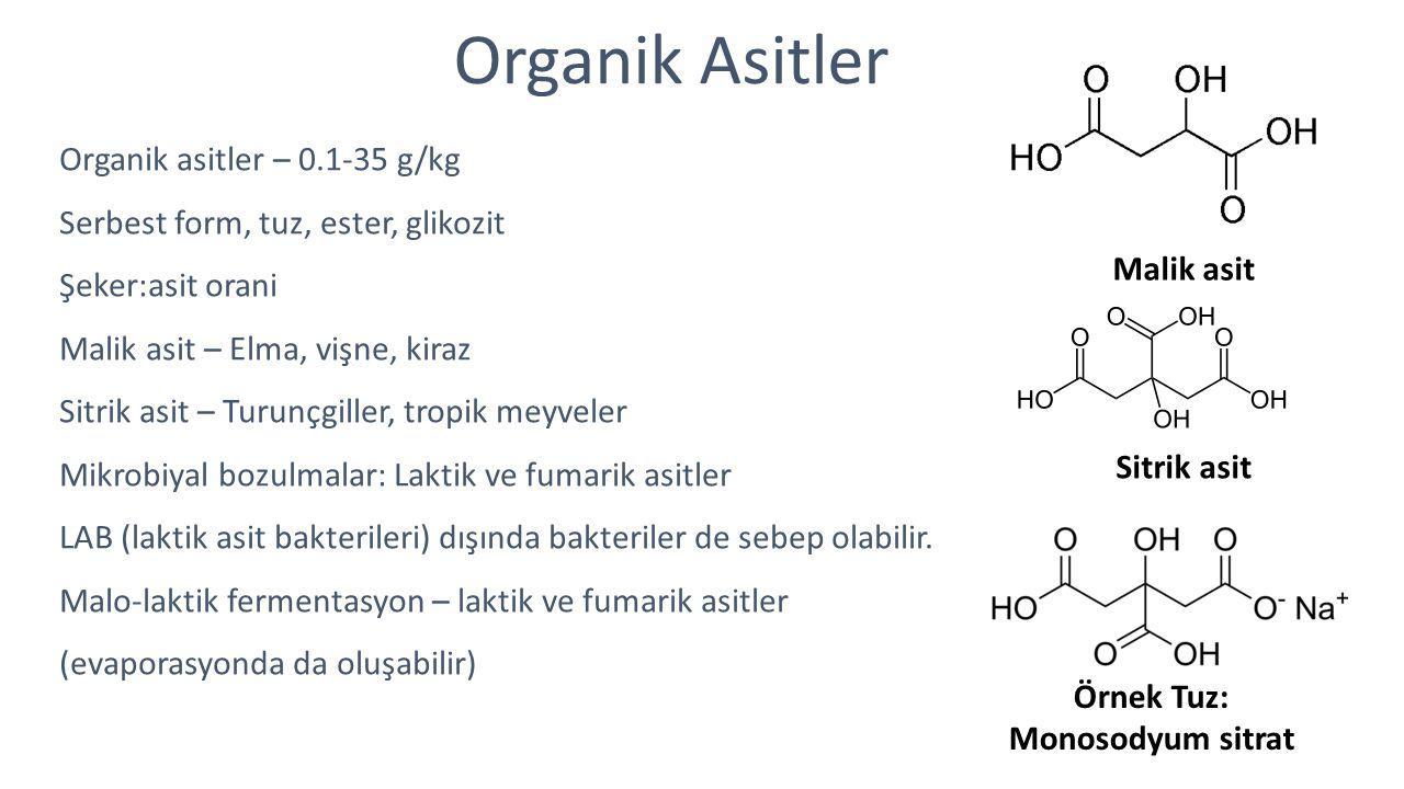 Organik Asitler Organik asitler – 0.1-35 g/kg Serbest form, tuz, ester, glikozit Şeker:asit orani Malik asit – Elma, vişne, kiraz Sitrik asit – Turunç