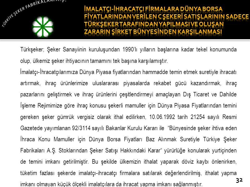 Türkşeker; Şeker Sanayiinin kuruluşundan 1990'lı yılların başlarına kadar tekel konumunda olup, ülkemiz şeker ihtiyacının tamamını tek başına karşılam
