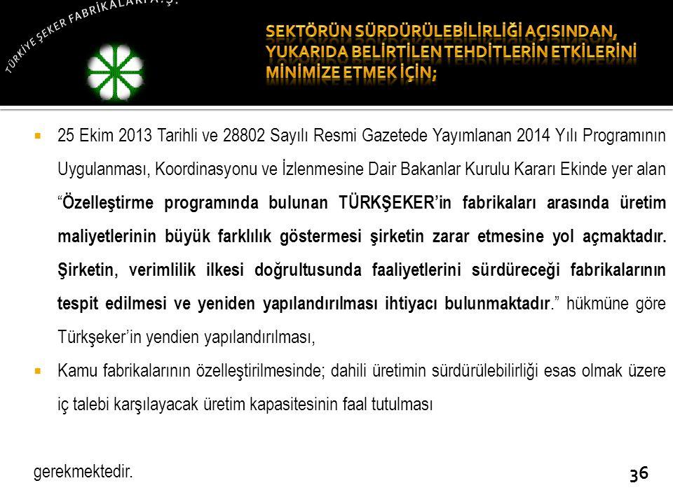  25 Ekim 2013 Tarihli ve 28802 Sayılı Resmi Gazetede Yayımlanan 2014 Yılı Programının Uygulanması, Koordinasyonu ve İzlenmesine Dair Bakanlar Kurulu