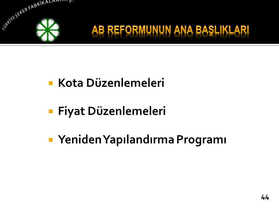  Kota Düzenlemeleri  Fiyat Düzenlemeleri  Yeniden Yapılandırma Programı 44