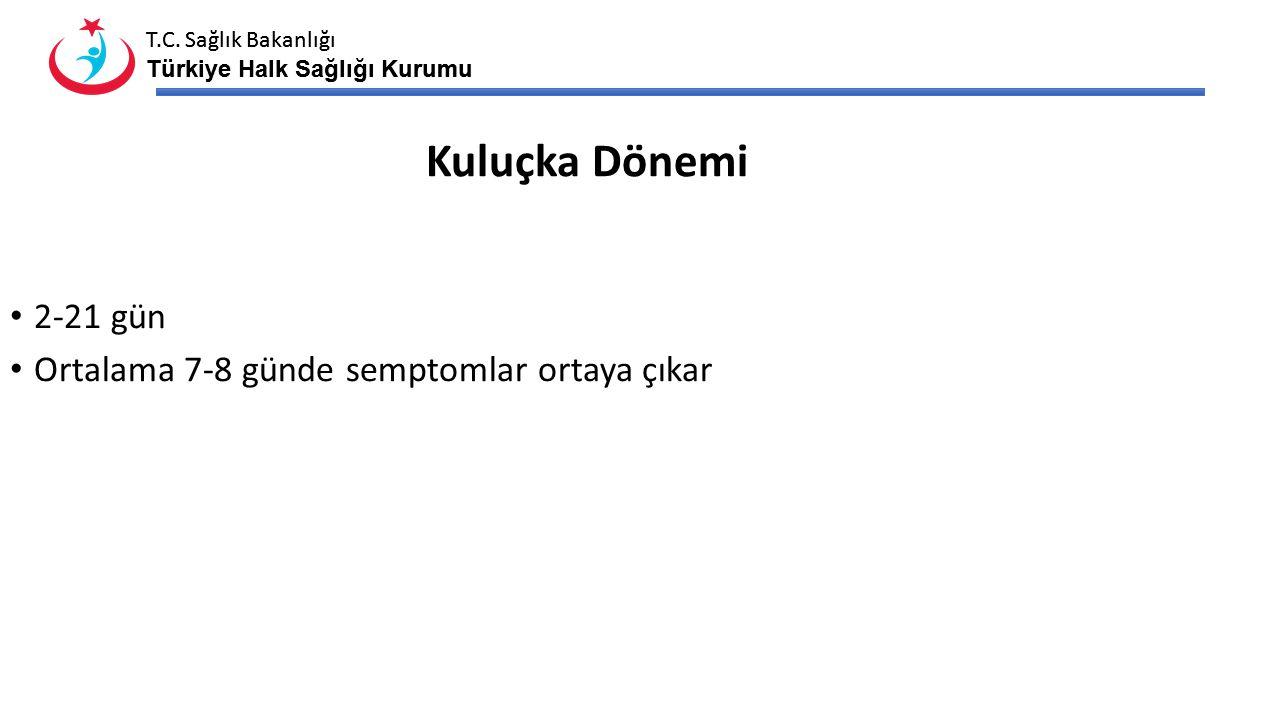 T.C. Sağlık Bakanlığı Türkiye Halk Sağlığı Kurumu T.C. Sağlık Bakanlığı Türkiye Halk Sağlığı Kurumu Kuluçka Dönemi 2-21 gün Ortalama 7-8 günde semptom