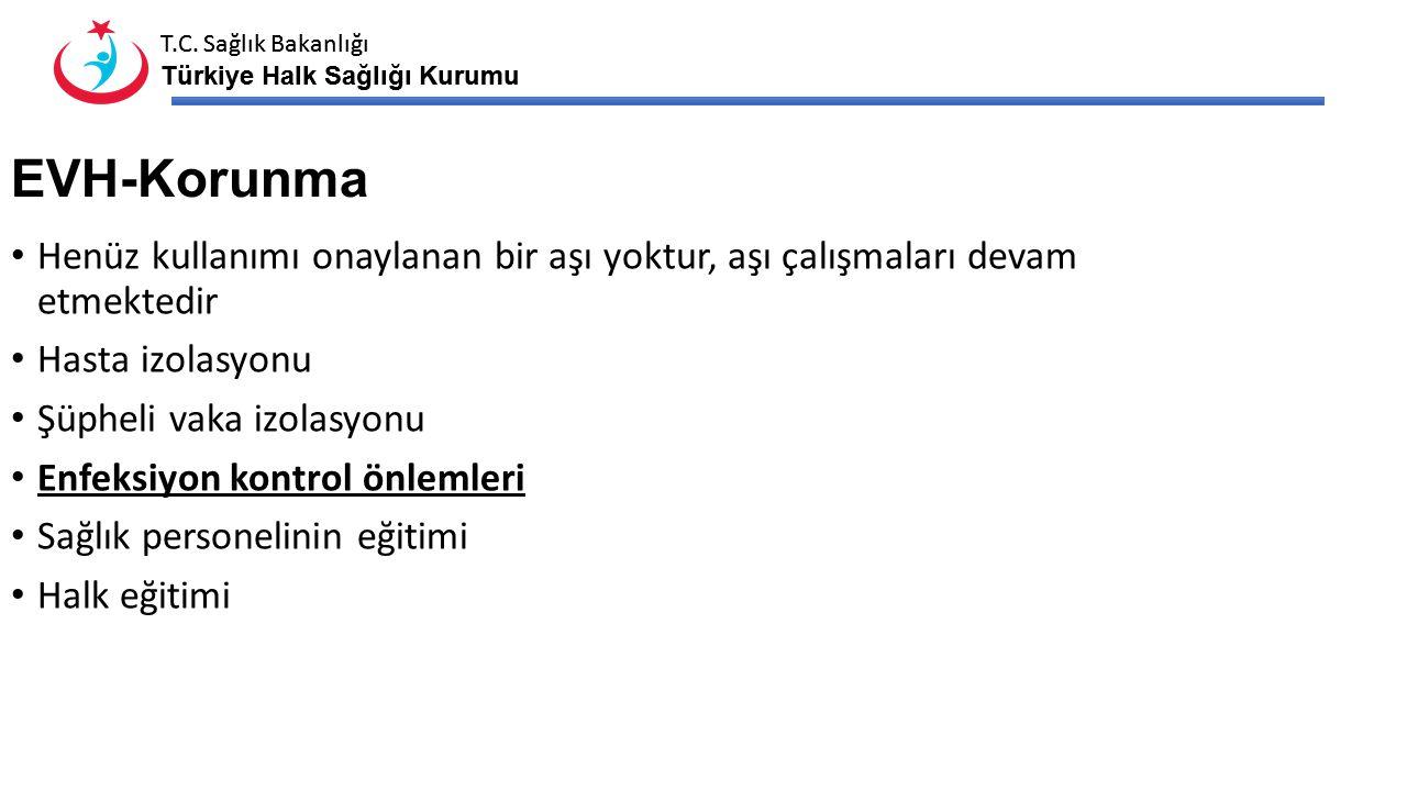 T.C. Sağlık Bakanlığı Türkiye Halk Sağlığı Kurumu T.C. Sağlık Bakanlığı Türkiye Halk Sağlığı Kurumu EVH-Korunma Henüz kullanımı onaylanan bir aşı yokt